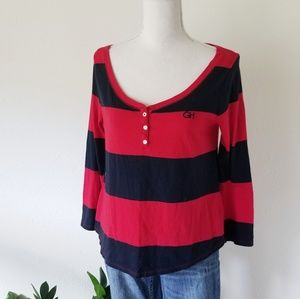 NWOT Gilly Hicks Navy and Red Striped Pullover Tee